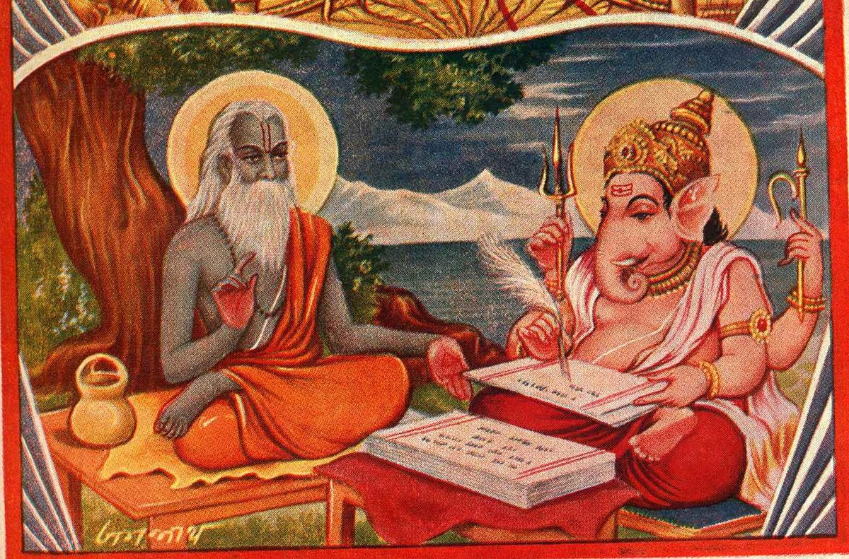 Vyasa dictating the epic Mahabhaarata to Ganesha